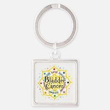 Bladder-Cancer-Lotus Square Keychain