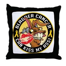 Bladder-Cancer-Can-Kiss-My-Donkey Throw Pillow