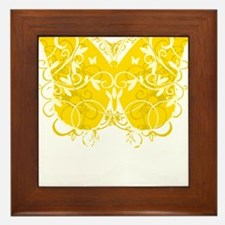Bladder-Cancer-Butterfly-blk Framed Tile