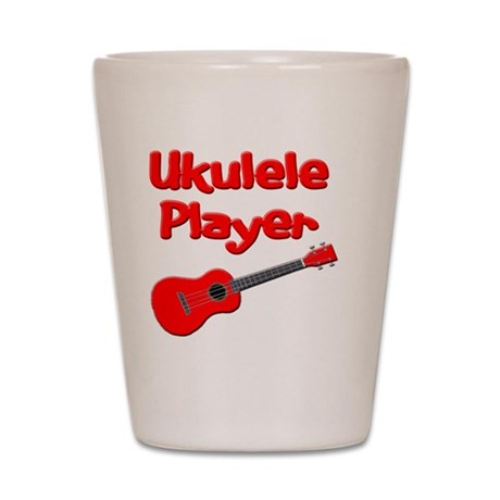 red ukulele Shot Glass