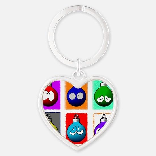 funny christmas globes_2 Heart Keychain