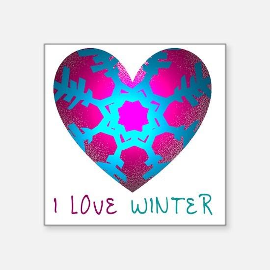 """i LOVE WINTER Square Sticker 3"""" x 3"""""""