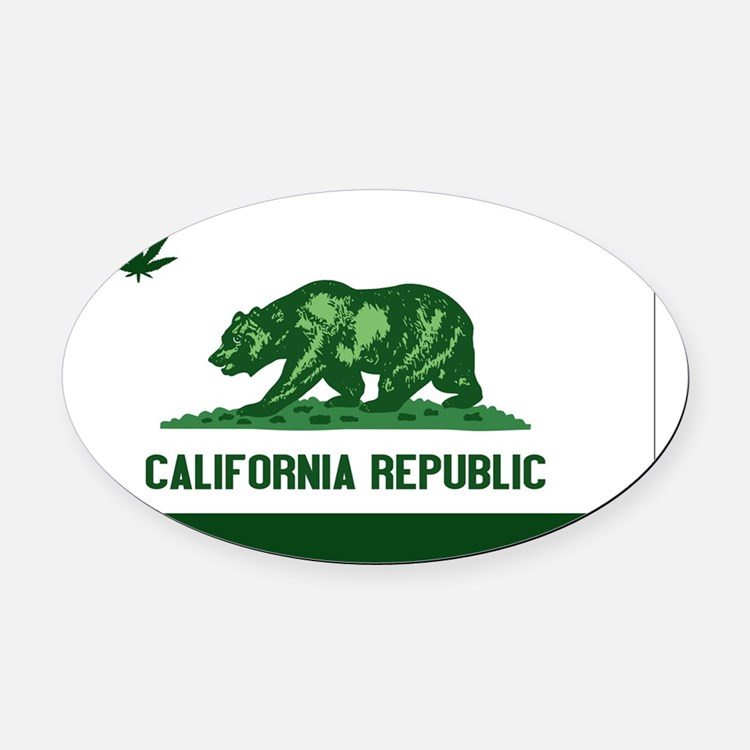 California Weed Flag Oval Car Magnet