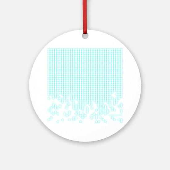 Blue Glow White Hexagon Round Ornament