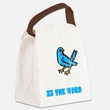 Word Bird blk Canvas Lunch Bag