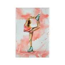 Pretty in Pink Ice Skate Rectangle Magnet
