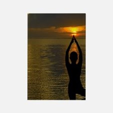 Bali. Woman silhouetted at sunris Rectangle Magnet