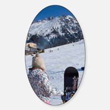 Girl with snowboard watching anothe Decal