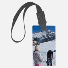 Girl with snowboard watching ano Luggage Tag