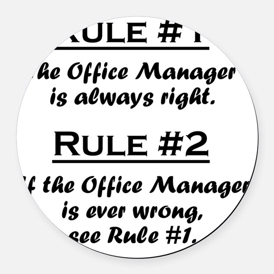 Rule Office Manager Round Car Magnet