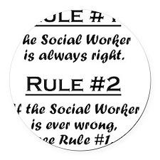 Rule Social Worker Round Car Magnet