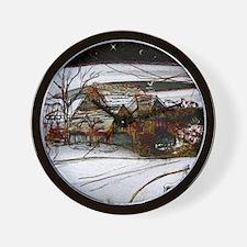 country home Christmas edit Wall Clock