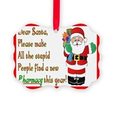 Pharmacy Dear Santa Cards Ornament