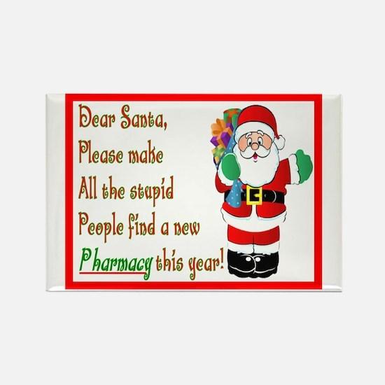 Pharmacy Dear Santa Cards Rectangle Magnet