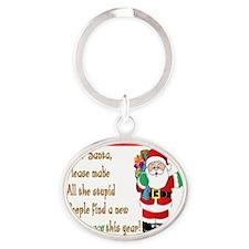 Pharmacy Dear Santa Cards Oval Keychain