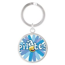 pilates smiley flower blue copy Round Keychain