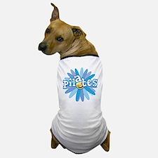 pilates smiley flower blue copy Dog T-Shirt