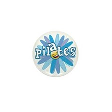 pilates smiley flower blue copy Mini Button
