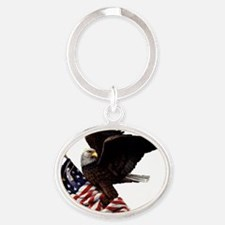 eagle1huge clean5 Oval Keychain