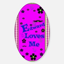 Edward Loves Me Patern 2444_iphone_ Sticker (Oval)