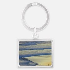 Man Walking Dog at the end of t Landscape Keychain