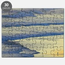 Man Walking Dog at the end of the day, Blac Puzzle