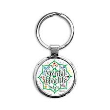 Mental-Health-Lotus Round Keychain
