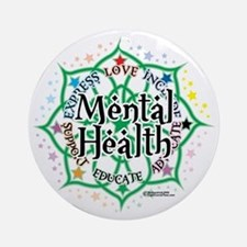 Mental-Health-Lotus Round Ornament
