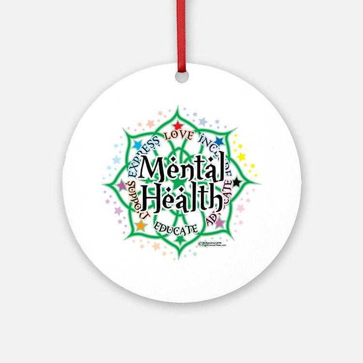 Mental-Health-Lotus Round Ornament