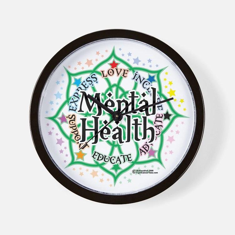 Mental-Health-Lotus Wall Clock