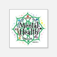"Mental-Health-Lotus Square Sticker 3"" x 3"""