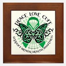 Mental-Health-Butterfly-Tribal-2 Framed Tile