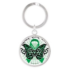 Mental-Health-Butterfly-Tribal-2 Round Keychain