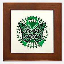 Mental-Health-Butterfly-Tribal-2-blk Framed Tile