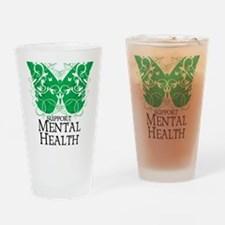 Mental-Health-Butterfly Drinking Glass