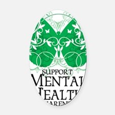 Mental-Health-Butterfly Oval Car Magnet