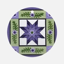 PurpleGreenLoneStar Round Ornament