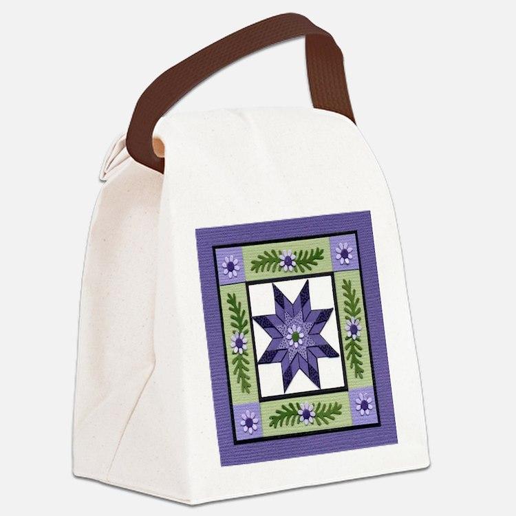 PurpleGreenLoneStar Canvas Lunch Bag