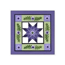 "PurpleGreenLoneStar Square Sticker 3"" x 3"""