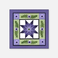 "PurpleGreenLoneStar Square Sticker 3"" x 3"""