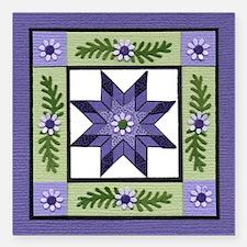 "PurpleGreenLoneStar Square Car Magnet 3"" x 3"""