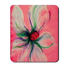 White Dogwood Flower Peach Background co Mousepad
