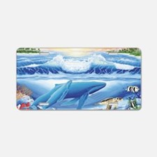 whale and turtle long  Aluminum License Plate