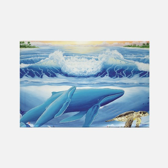 whale and turtle long  Rectangle Magnet