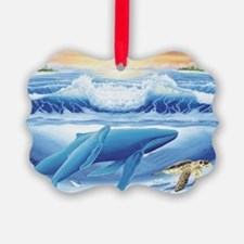 whale and turtle long  Ornament