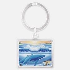 whale and turtle long  Landscape Keychain