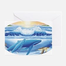 whale and turtle oval  Greeting Card