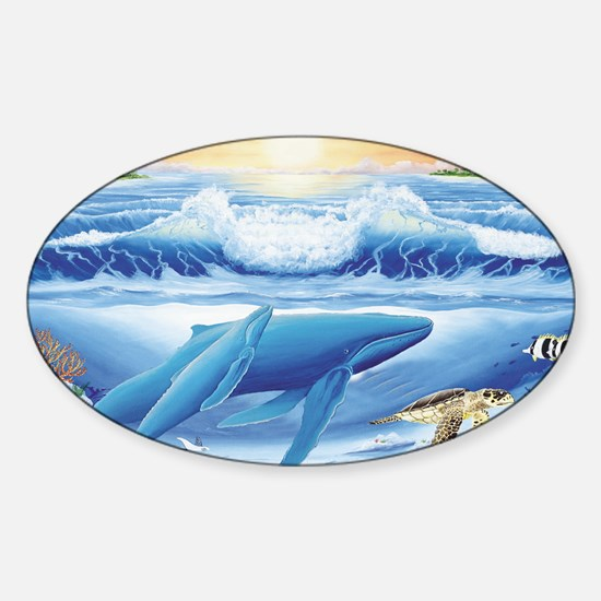 whale and turtle oval  Sticker (Oval)