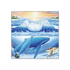 """whale and turtle square Square Sticker 3"""" x 3"""""""