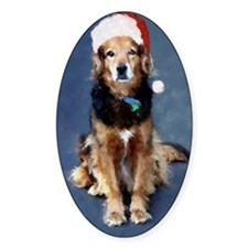 Christmas greeting card dog in sant Decal